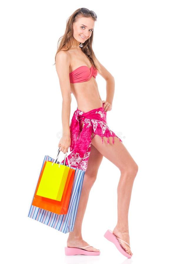 Fille posant dans le bikini images stock