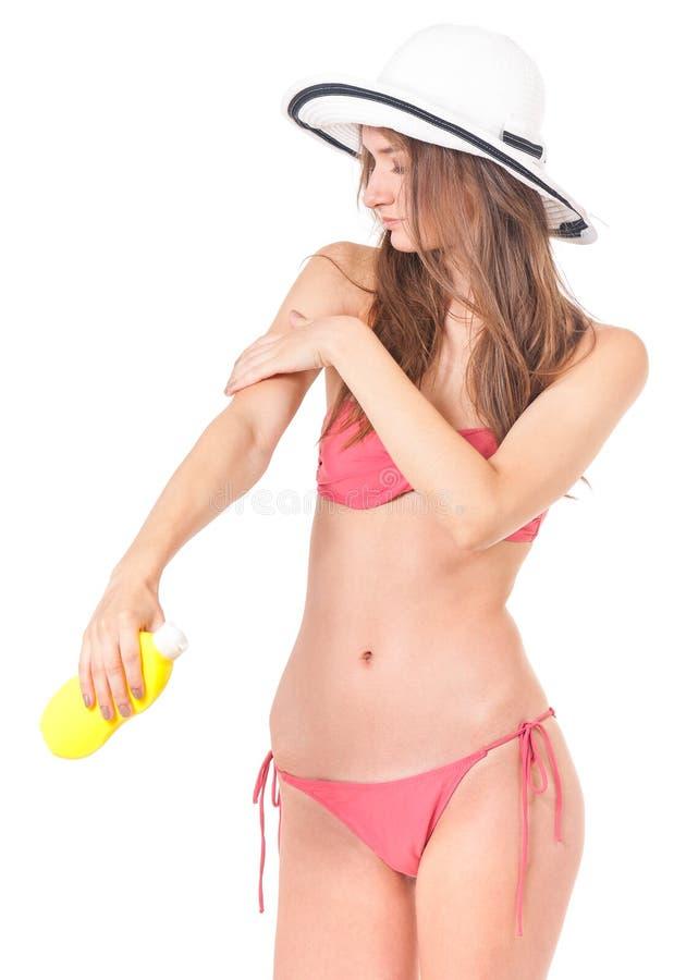 Fille posant dans le bikini image stock