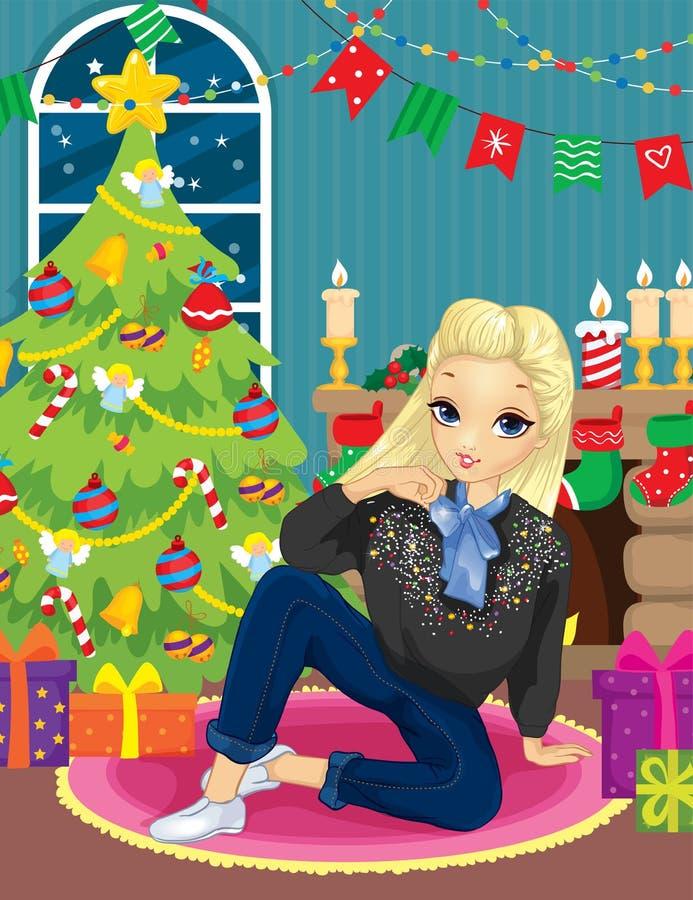 Fille près d'arbre de cheminée et de Noël illustration de vecteur