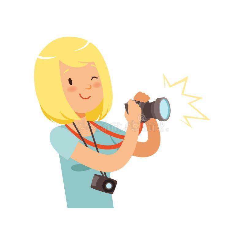 Fille prenant des photos, jeune illustration professionnelle de vecteur de caractère de photographe illustration de vecteur