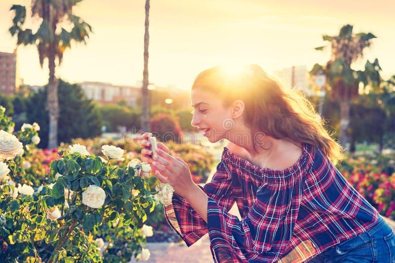 Fille prenant la photo de smartphone à la fleur rose photo libre de droits