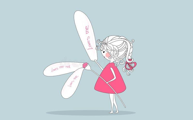 fille prenant les pétales outre de la fleur un illustration libre de droits