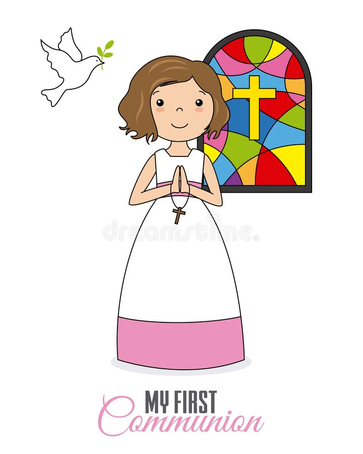 Fille priant dans l'église illustration de vecteur