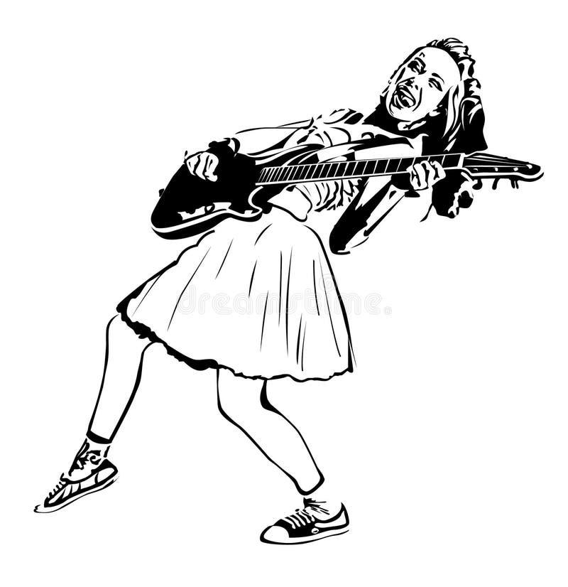 Fille punk avec la guitare illustration stock