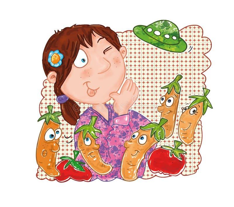 Fille qui parle avec les carottes animées d'UFO illustration libre de droits