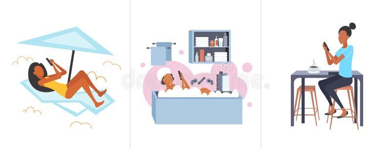 Fille réglée prenant un bain de soleil sur le canapé se situant dans la baignoire et les concepts numériques potables de dépendan illustration libre de droits