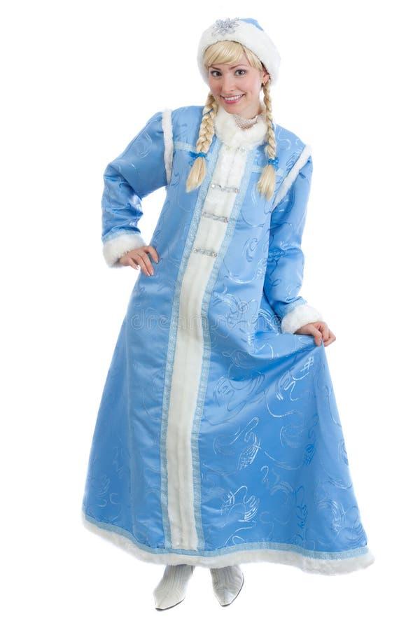 Fille rectifiée dans le costume russe de Noël photographie stock libre de droits