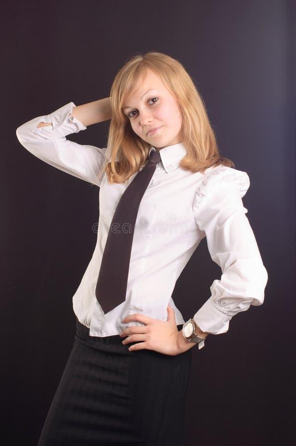 Fille rectifiée en tant que dame d'affaires photos stock