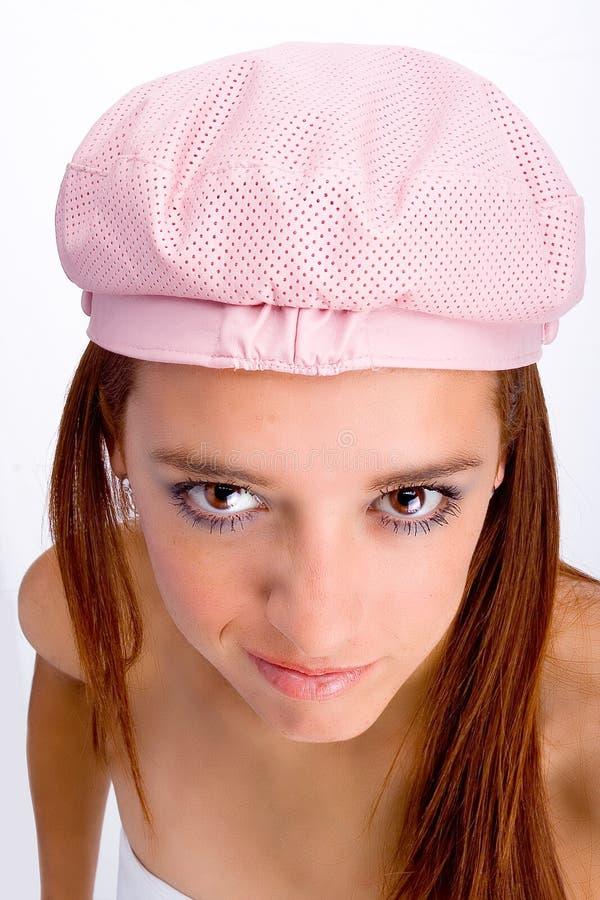 Fille Red-haired avec le chapeau photo libre de droits