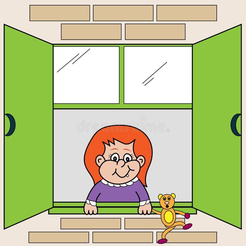 Fille regardant à l'extérieur l'hublot illustration de vecteur