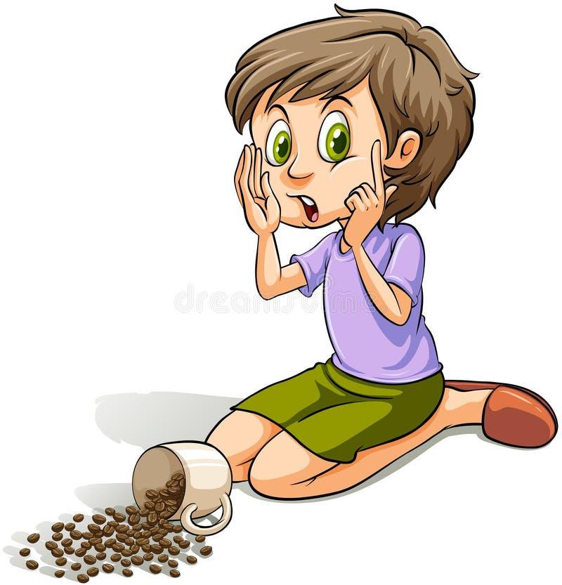 Fille renversant les haricots illustration libre de droits