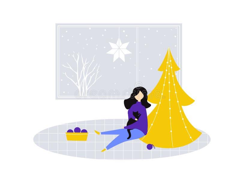 Fille reposer et tenir un chat près de l'arbre de Noël en partie décoré Illustration plate de pièce avec la grande fenêtre, confo illustration libre de droits