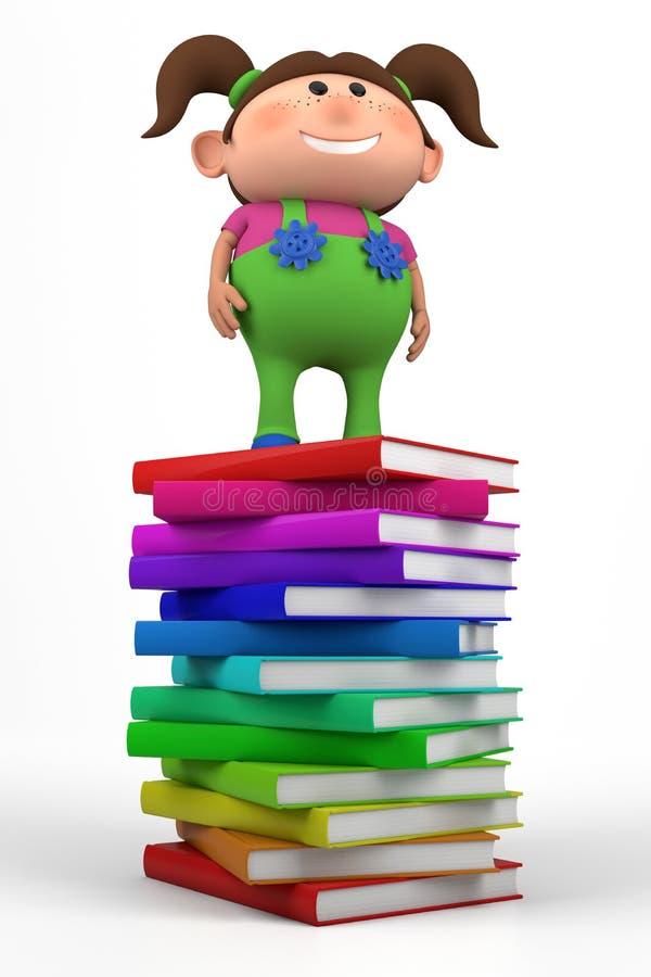 Fille restant sur une pile de livres illustration libre de droits
