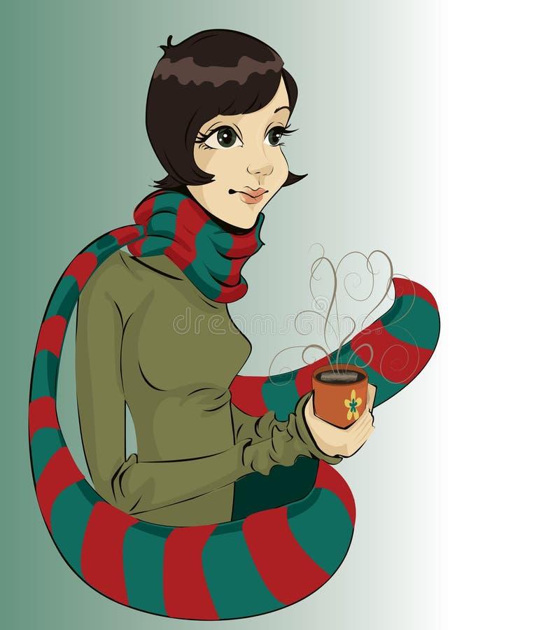 Fille retenant une cuvette de café chaud illustration libre de droits