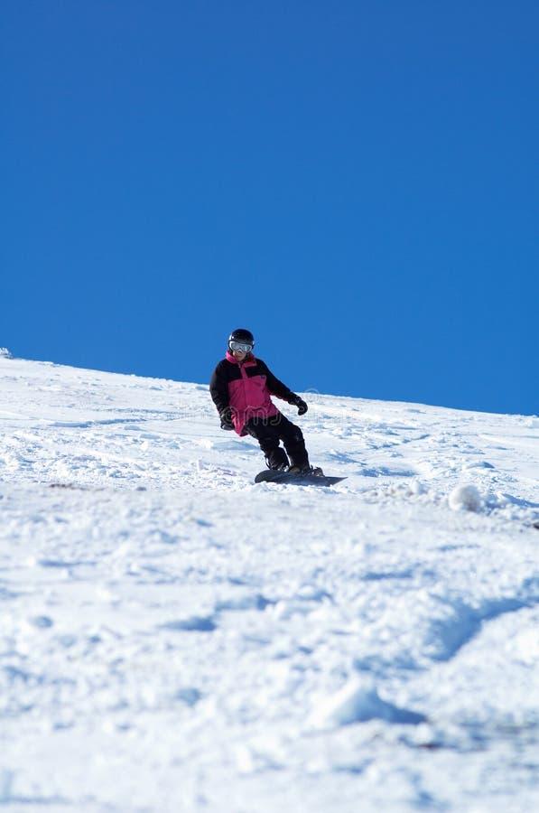 Fille rose de Snowboard photographie stock