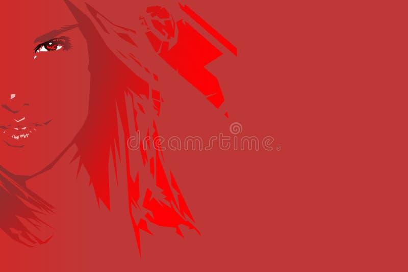 Fille rouge illustration stock