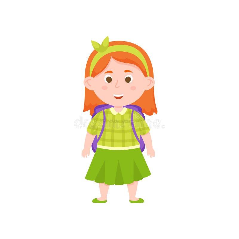 Fille rouge d'école de cheveux avec la jupe et la chemise vertes illustration de vecteur