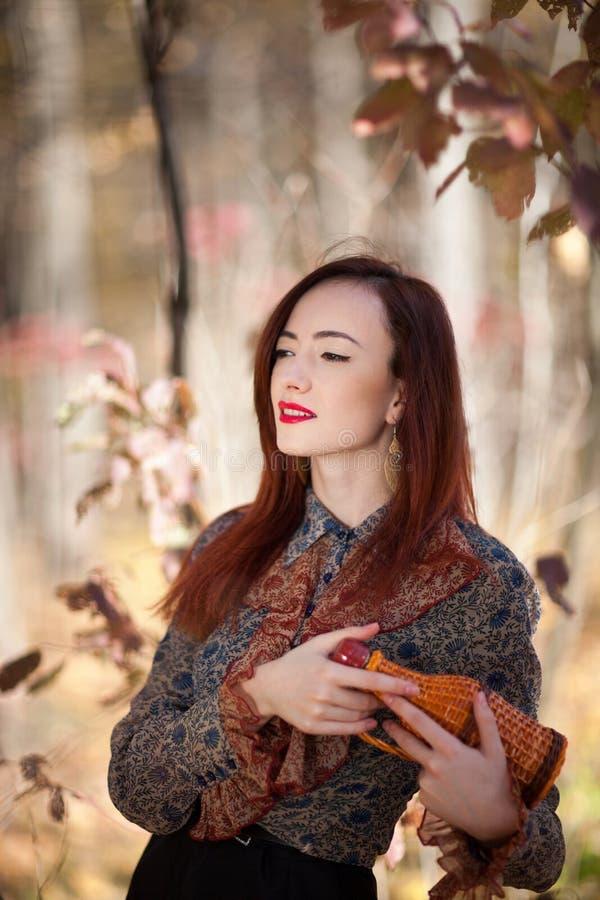 Fille rouge d'automne image libre de droits