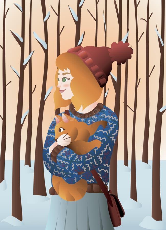 Fille rouge de cheveux avec le chat orange dans un jour froid de l'hiver avec les arbres neigeux illustration libre de droits
