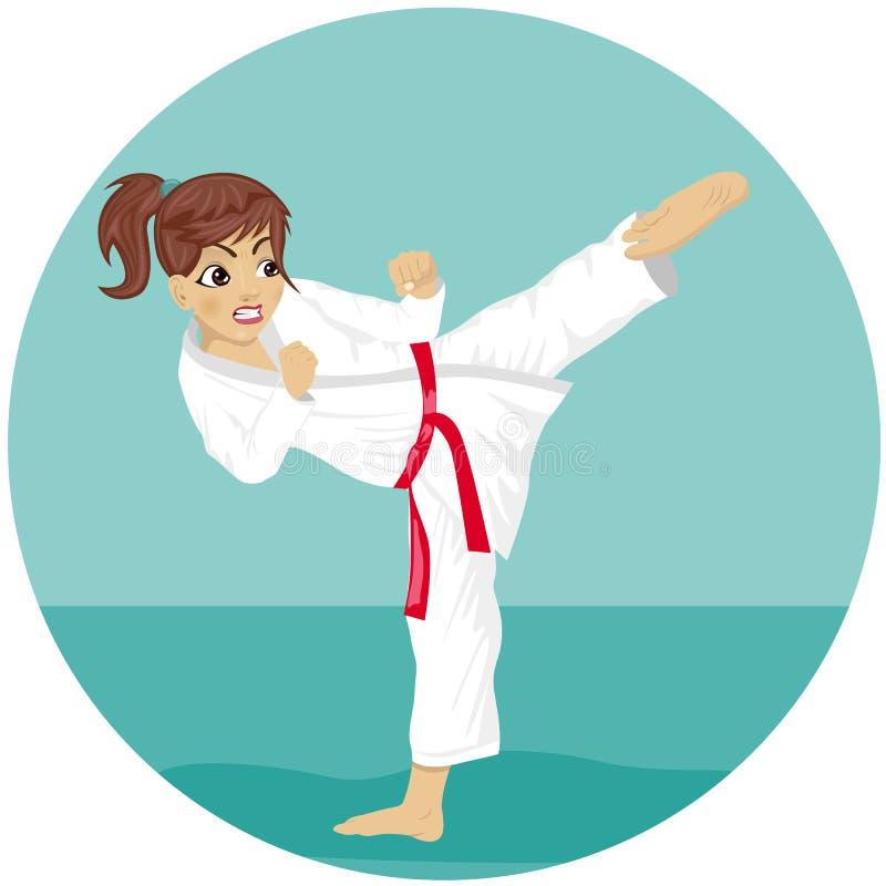 Fille rouge de karaté de ceinture de jeune adolescent dans l'exercice de pratique de coup-de-pied de kimono illustration libre de droits
