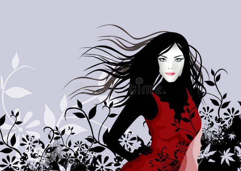 Fille rouge florale illustration stock