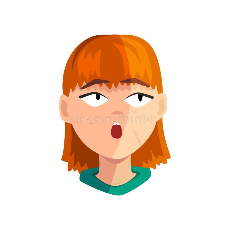 Fille rousse étonnée, visage émotif femelle, avatar avec l'illustration de vecteur d'expression du visage sur un fond blanc illustration stock