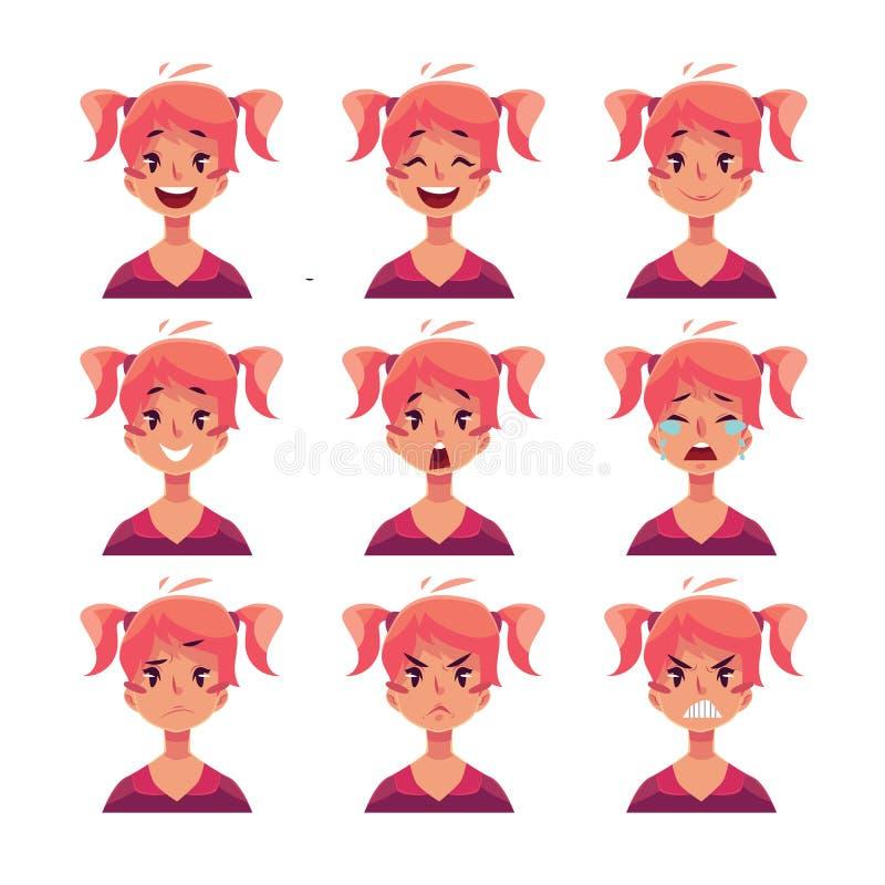Fille rousse avec des avatars d'expression de visage de queues de cheval illustration libre de droits