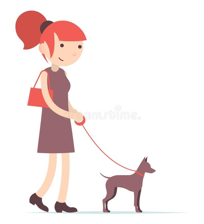 Fille rousse marchant avec un chien, terrier de jouet, appartement de bande dessinée photographie stock