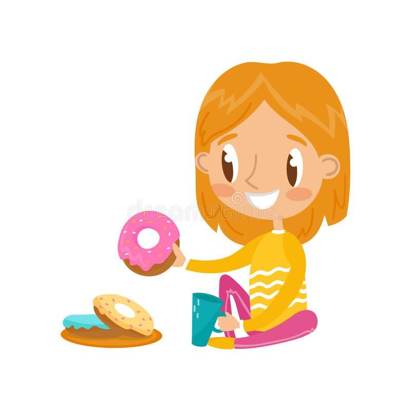 Fille rousse mignonne s'asseyant sur le plancher et mangeant l'illustration de vecteur de beignet sur un fond blanc illustration de vecteur