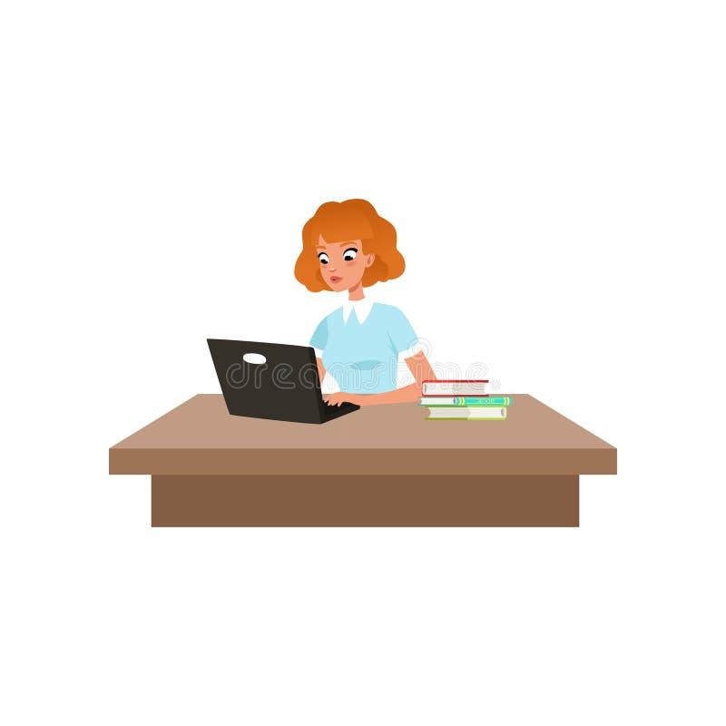 Fille s'asseyant au bureau et étudiant utilisant son ordinateur, étudiant dans l'illustration de vecteur d'apprentissage sur un b illustration libre de droits