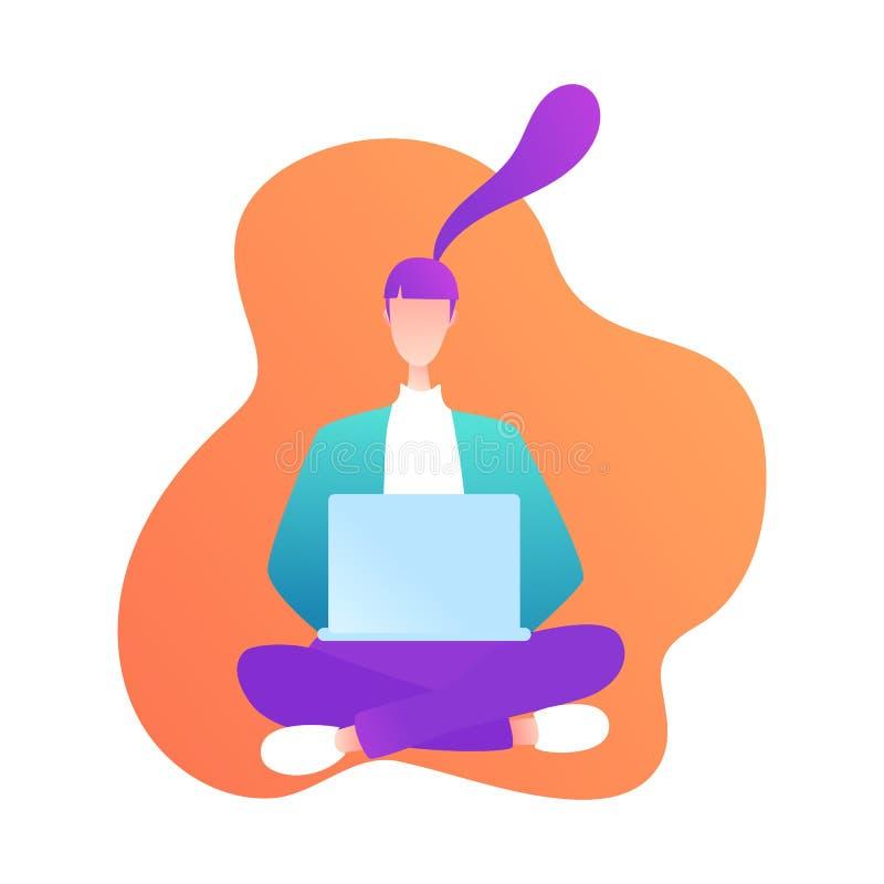 Fille s'asseyante avec l'ordinateur portable dans le style moderne Jeune femme ? l'aide de l'ordinateur Communication en ligne Ap illustration de vecteur