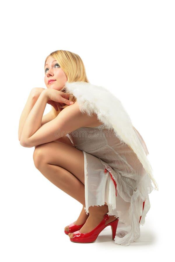 fille s de costume d'ange photographie stock libre de droits
