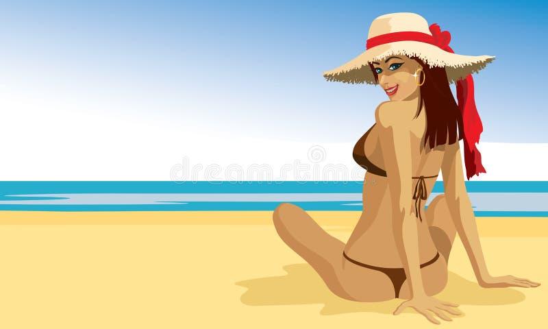 fille s'exposant au soleil illustration de vecteur