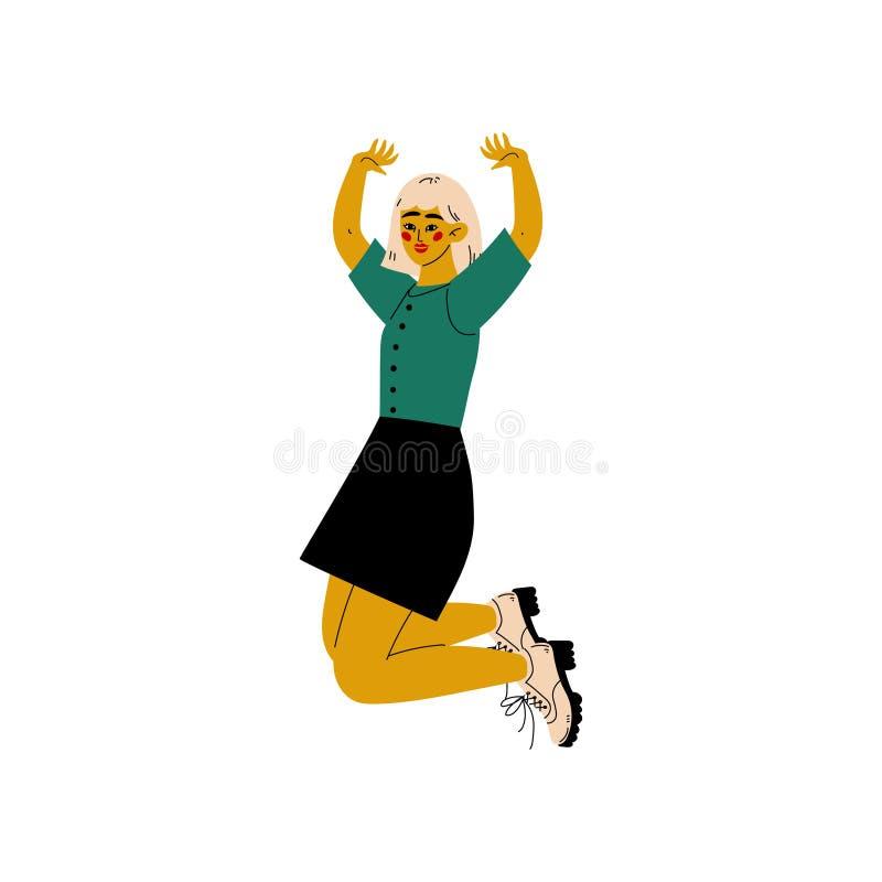 Fille sautant heureusement célébrant l'événement important, soirée dansante, amitié, illustration de vecteur de concept de sport illustration stock
