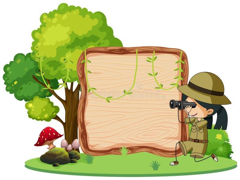 Fille scout avec des jumelles sur l'enseigne en bois illustration libre de droits