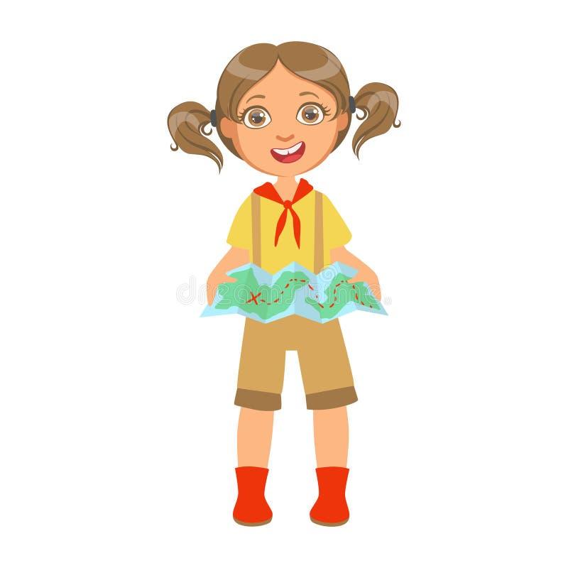 Fille scout heureuse tenant une carte de touristes, un caractère coloré illustration stock