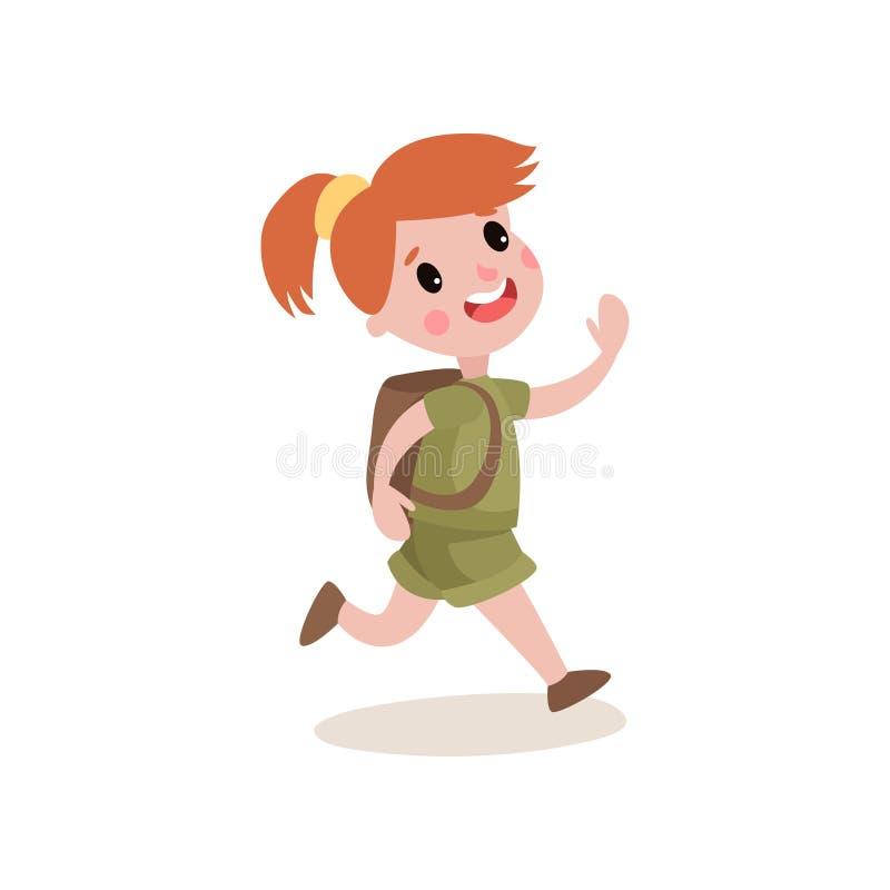 Fille scout rousse courant avec l'expression gaie de visage, activités de colonie de vacances illustration libre de droits