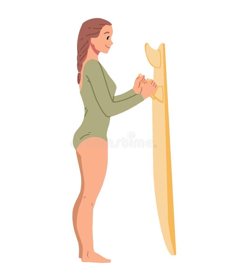 Fille se tenant avec la planche de surf jeunes de femme d'?t? de montagnes de loisirs illustration de vecteur