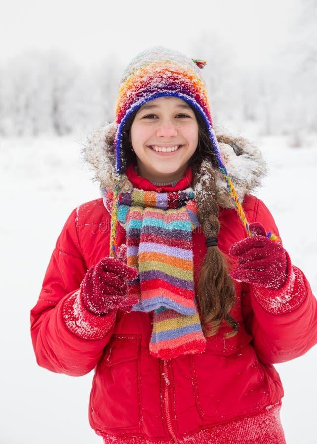 Fille se tenant dans des vêtements chauds colorés sur le paysage neigeux images stock