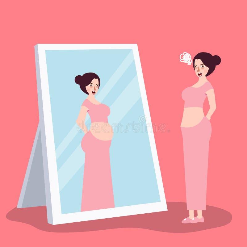 Fille sentant le gros poids excessif en regardant le miroir illustration libre de droits