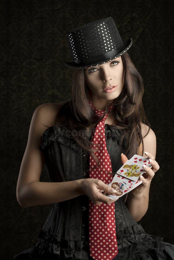 Fille sexy avec jouer des cartes photo stock