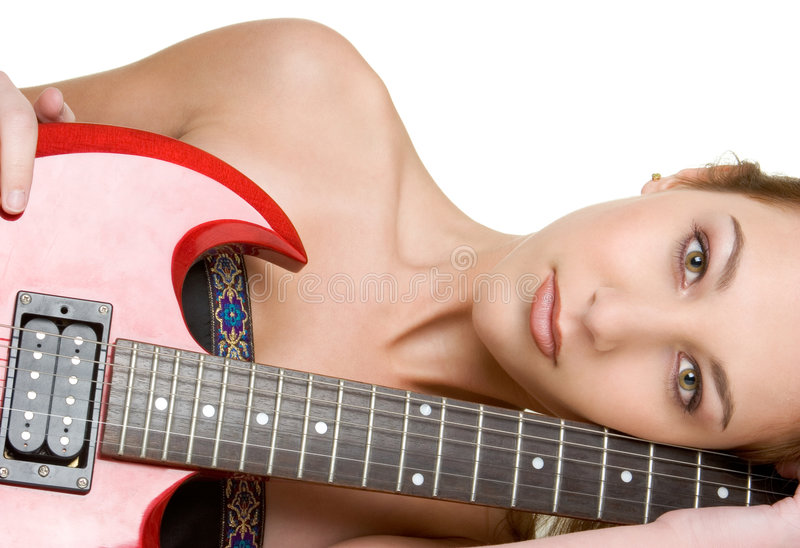 Fille sexy de guitare images stock