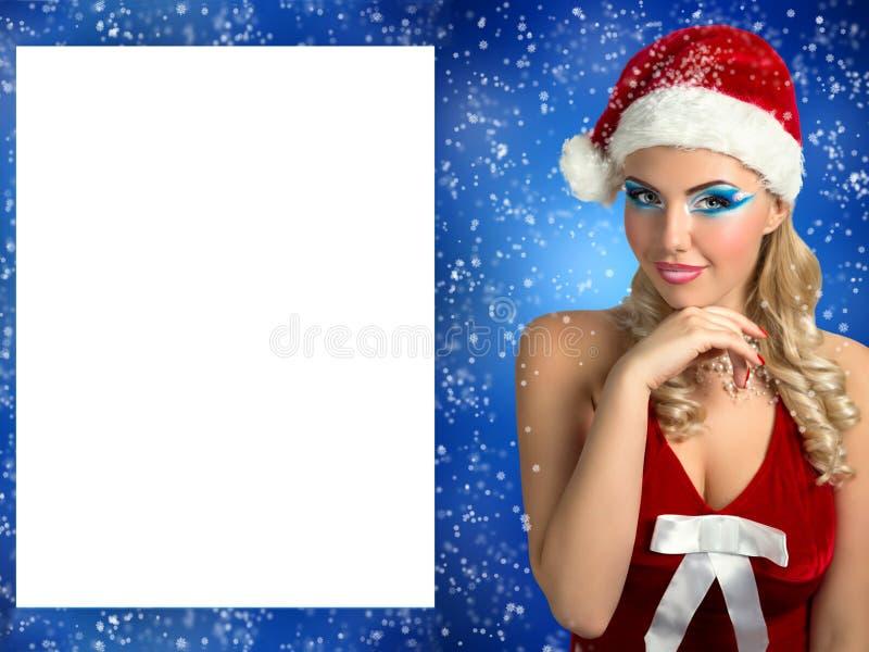 Fille sexy de Santa image stock