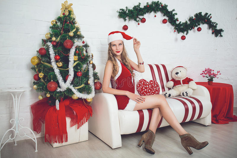 Fille sexy Santa images stock