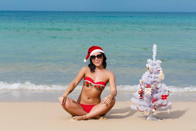 Fille sexy Santa dans le bikini sur un sapin de plage photos stock