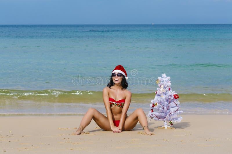 Fille sexy Santa dans le bikini sur un sapin de plage image libre de droits