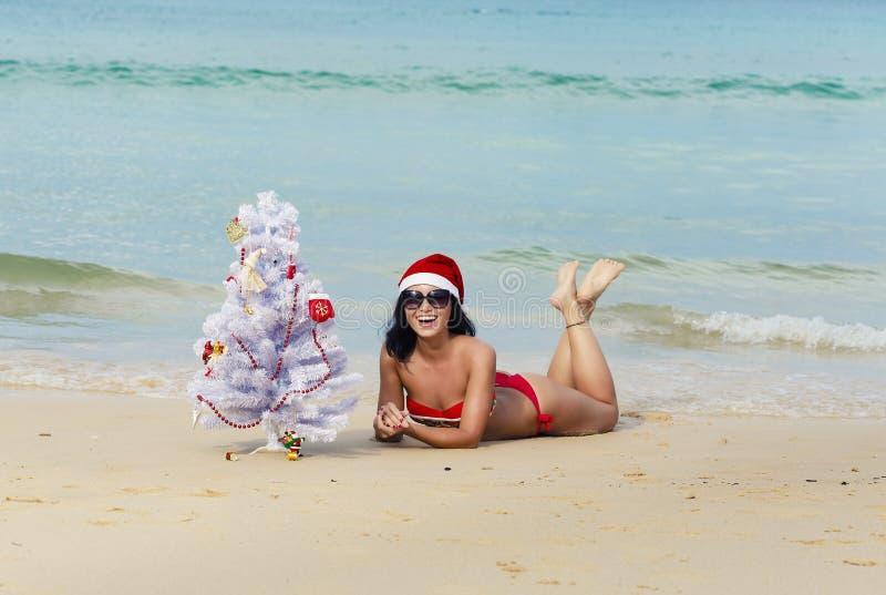 Fille sexy Santa dans le bikini sur un sapin de plage images stock