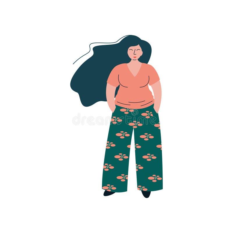 Fille sinueuse de brune attrayante dans des vêtements à la mode de mode, beaux plus l'illustration dodue de vecteur de femme de t illustration de vecteur