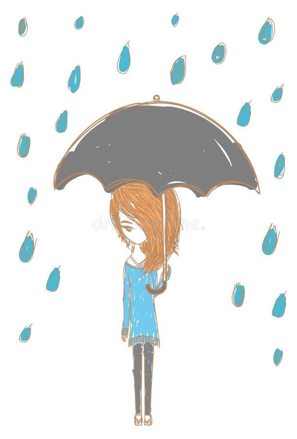 Fille sous la pluie avec la conception élégante illustration de vecteur