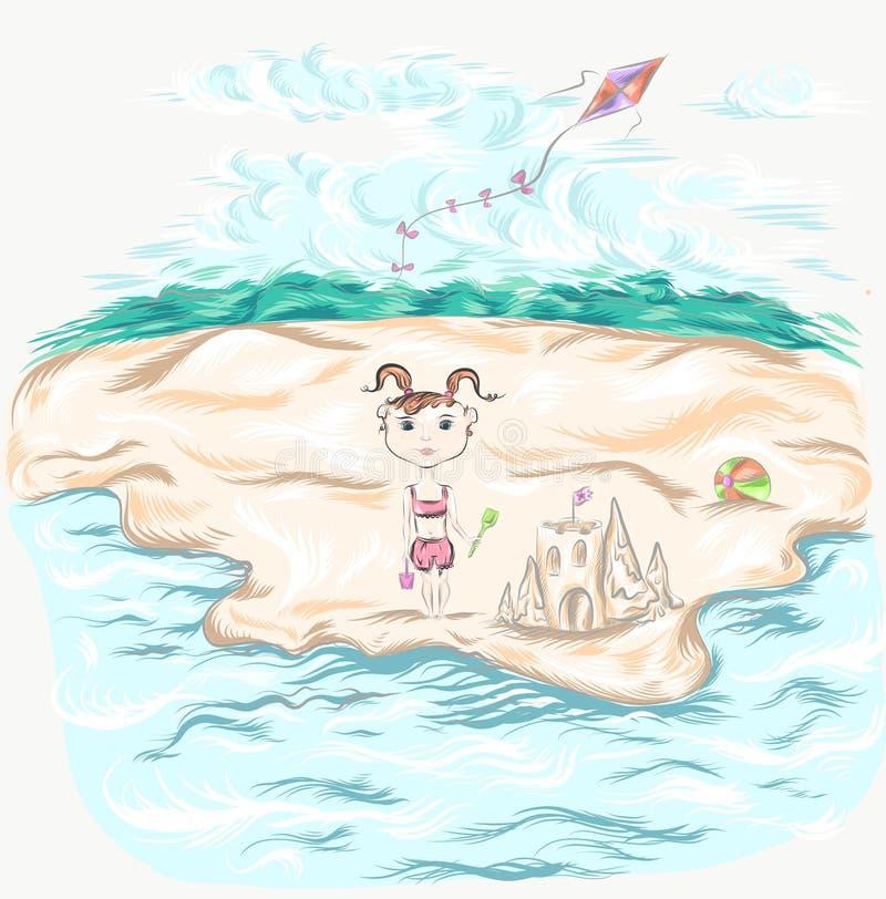 Fille sur l'illustration de plage image libre de droits